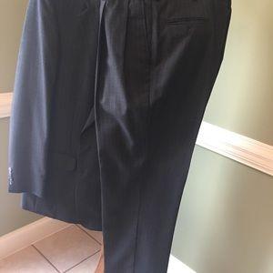 2pc tall pinstripe suit, dark grey